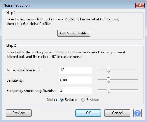 إزالة ضجيج الخلفية في برنامج audacity