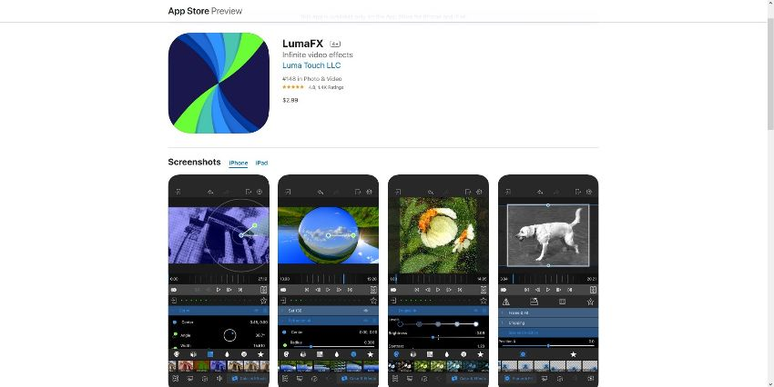 best video effects apps for  iOS - LumaFX