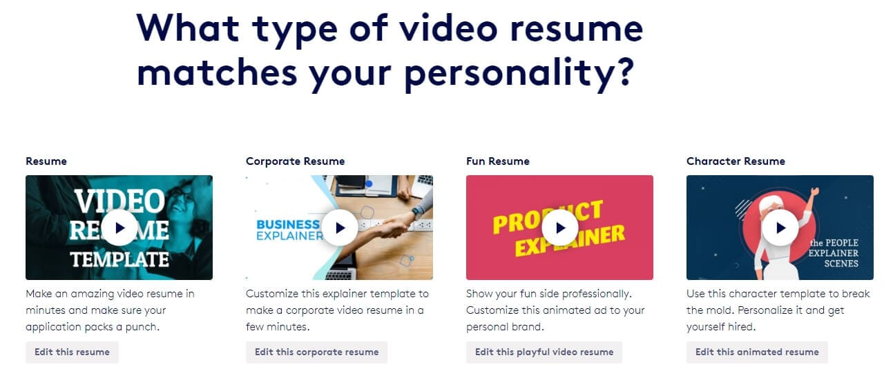 best Video resume maker- Biteable Video resume template