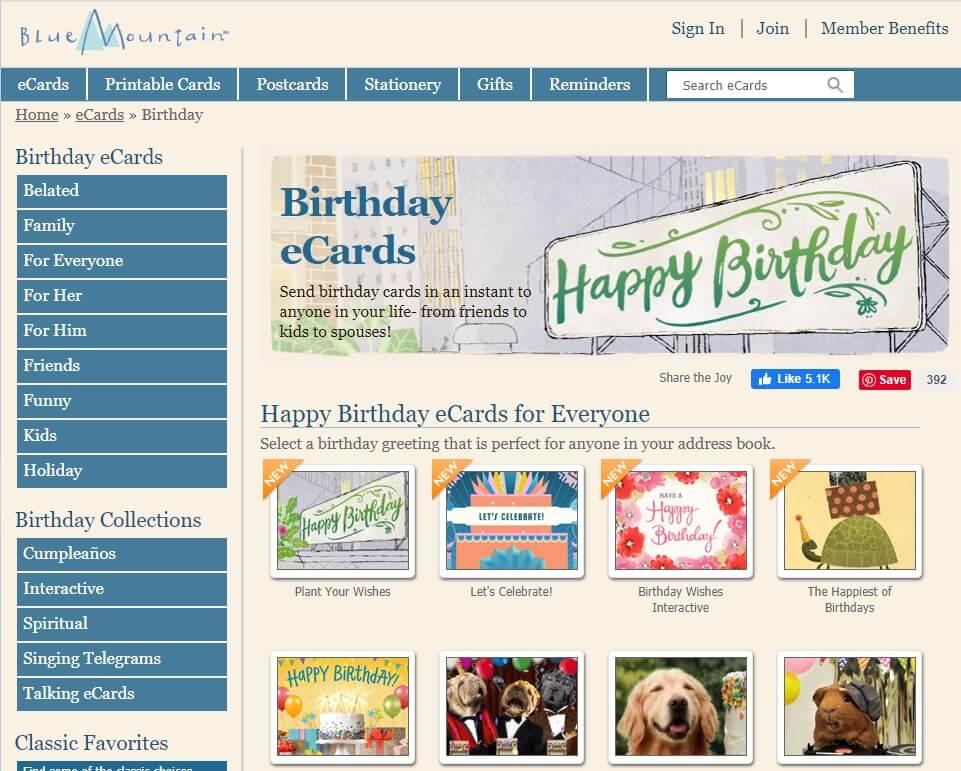 free online birthday ecard maker - Blue Mountain