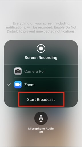 Start Broadcast iPhone with Zoom