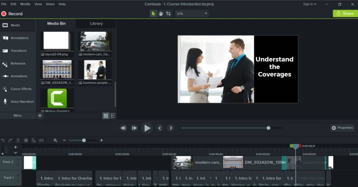 Camtasia Editing interface