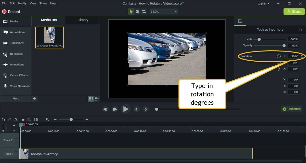 Rotate video in Camtasia