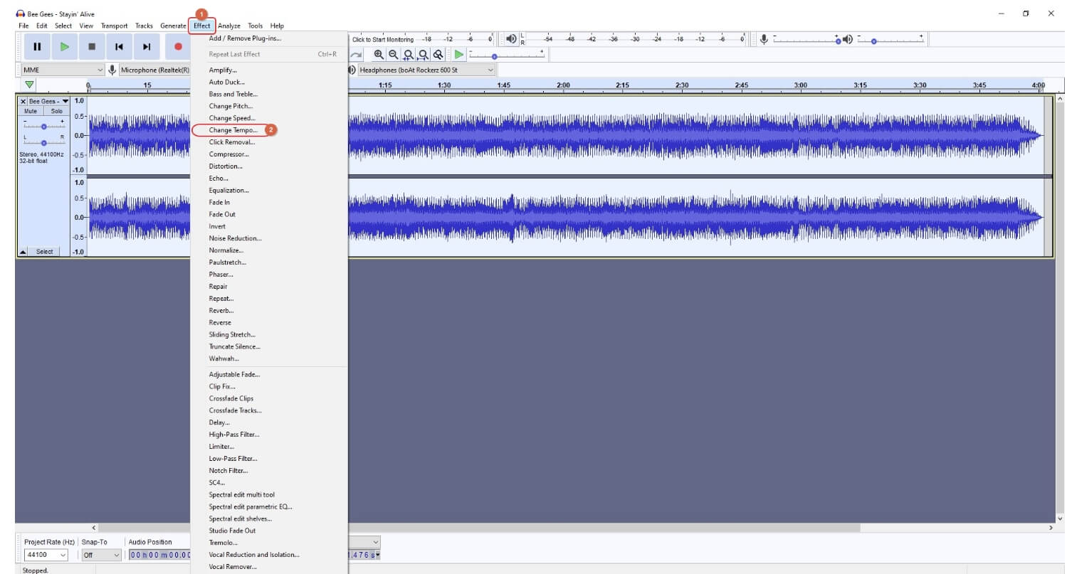 change audio speed  in Audacity