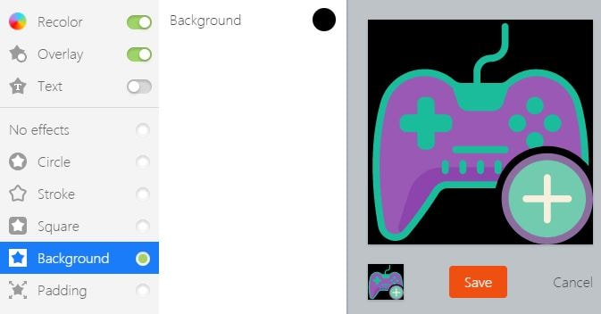 Change Gaming Logo Icon background on Icons8