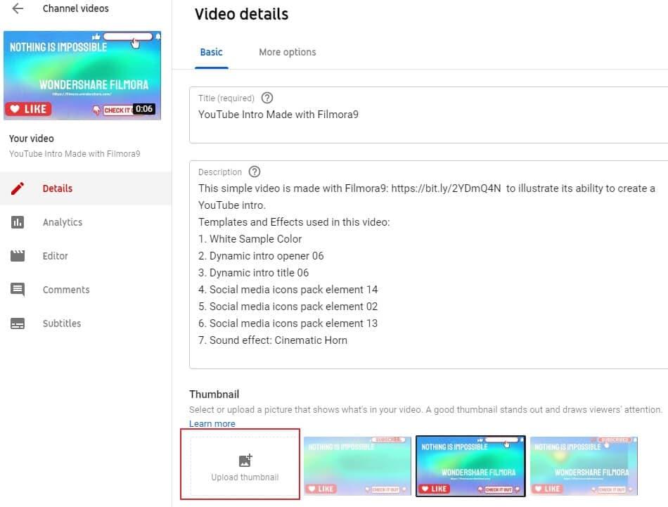 Change YouTube Video Thumbnail