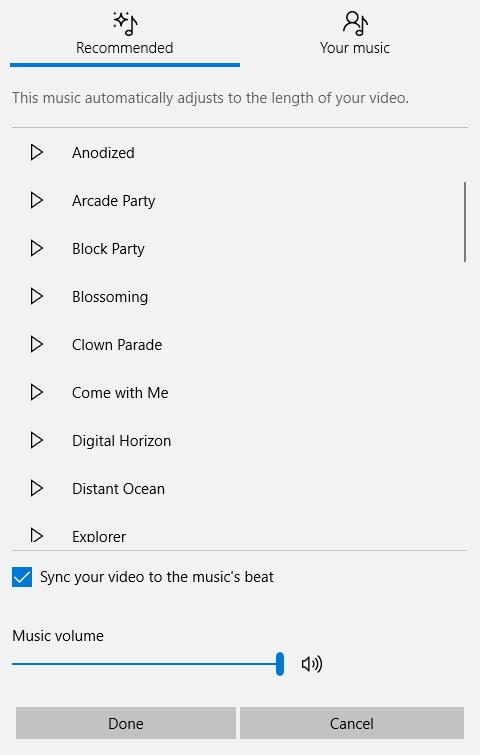 add music on windows 10 photos app