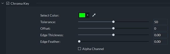Modifier les paramètres Chroma Key