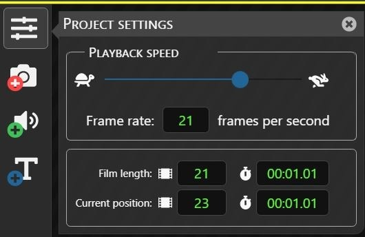 Cloud Stop Motion Project Settings