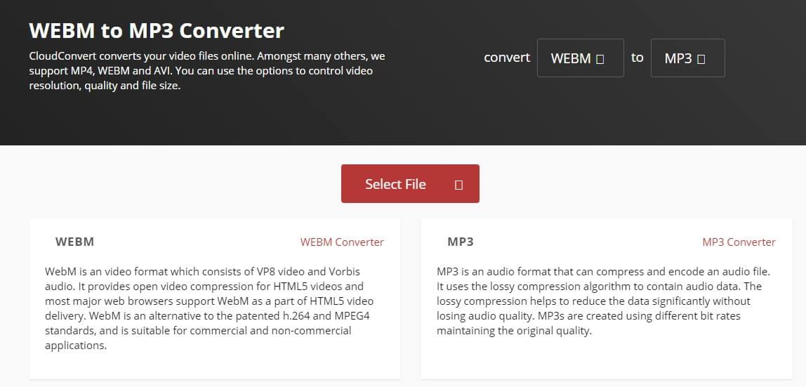 Convert WebM video to MP3 with cloudconvert