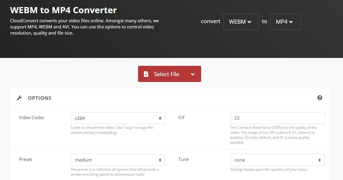 Convert WebM video to MP4 with cloudconvert