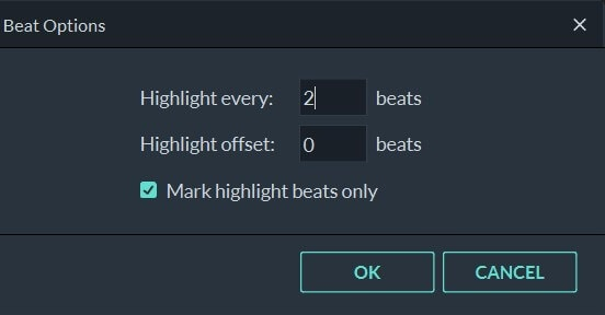 Filmora9 Beat Options Settings