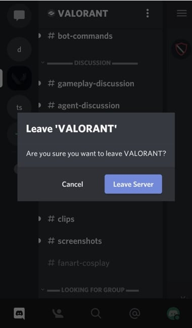 Leave Discord Server on Mobile Confirm