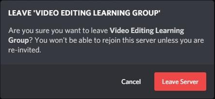 Leave Discord Server Confirm