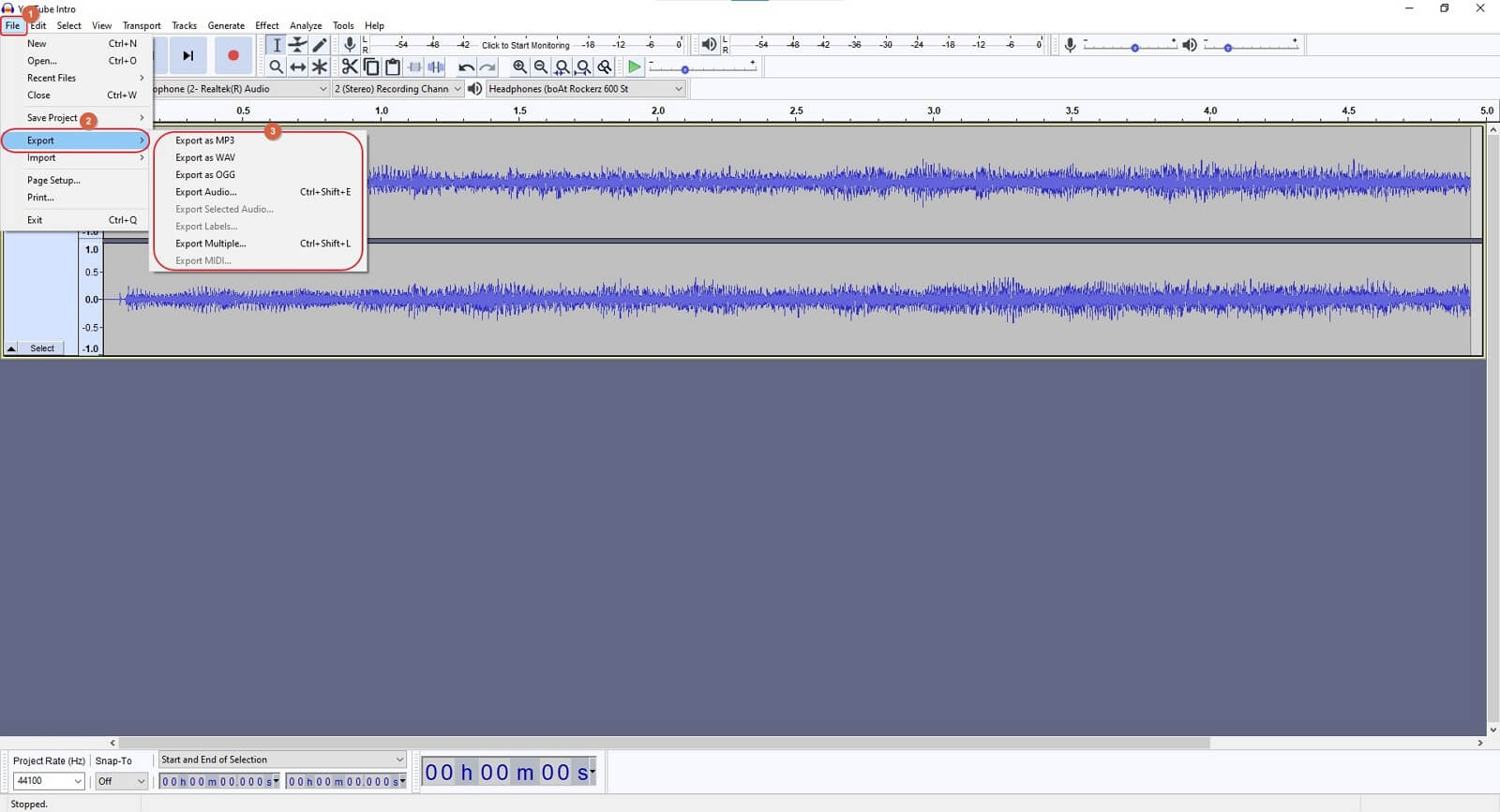 convert video to mp3 in audacity