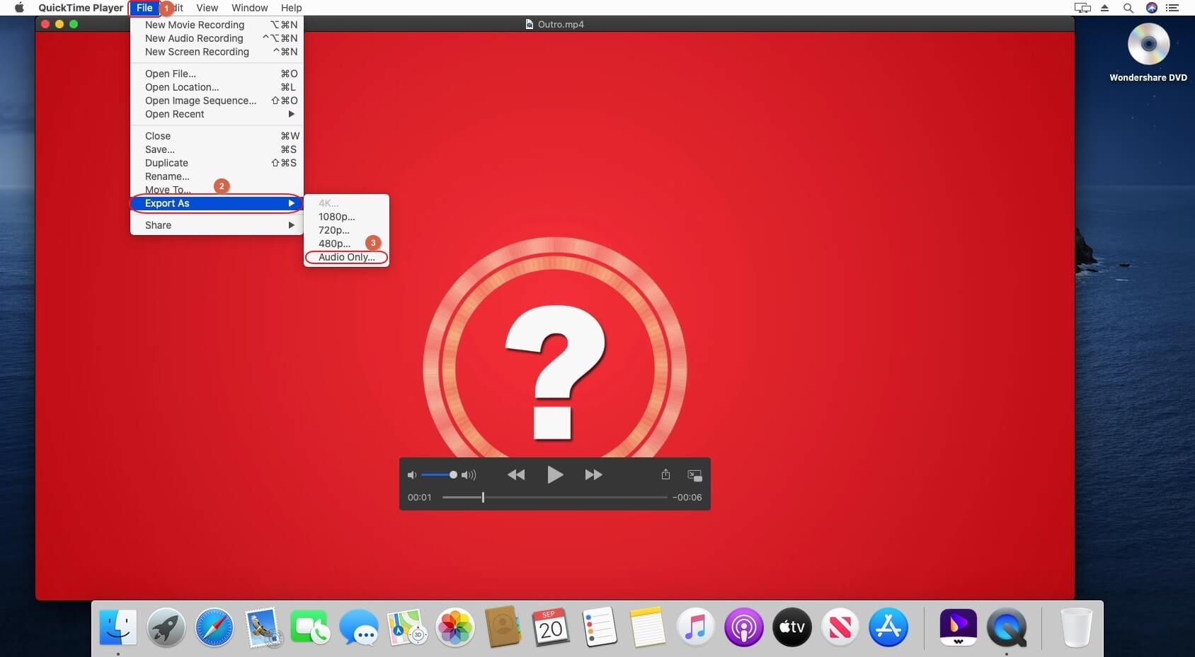 convert video to mp3 in QuickTime