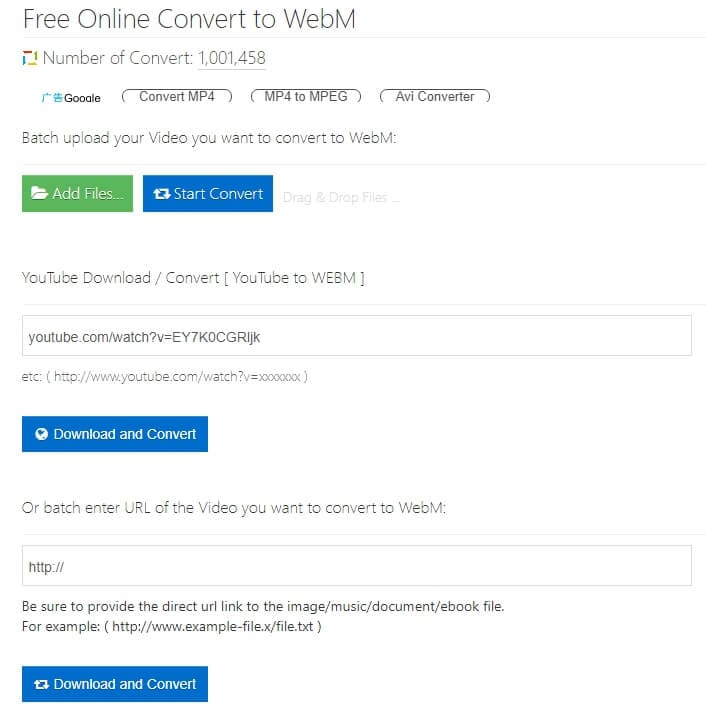 Convertire video YouTube in formato WebM con YTOFFLINE Free Converter