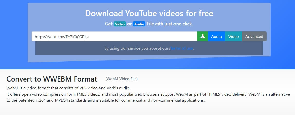 Vídeo do YouTube para WebM com Convert4US