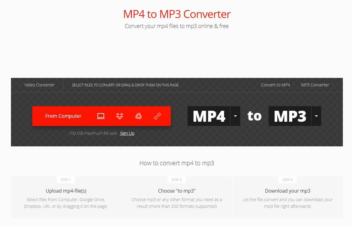 Convertio Online Audio Converter - Salvar MP4 como MP3