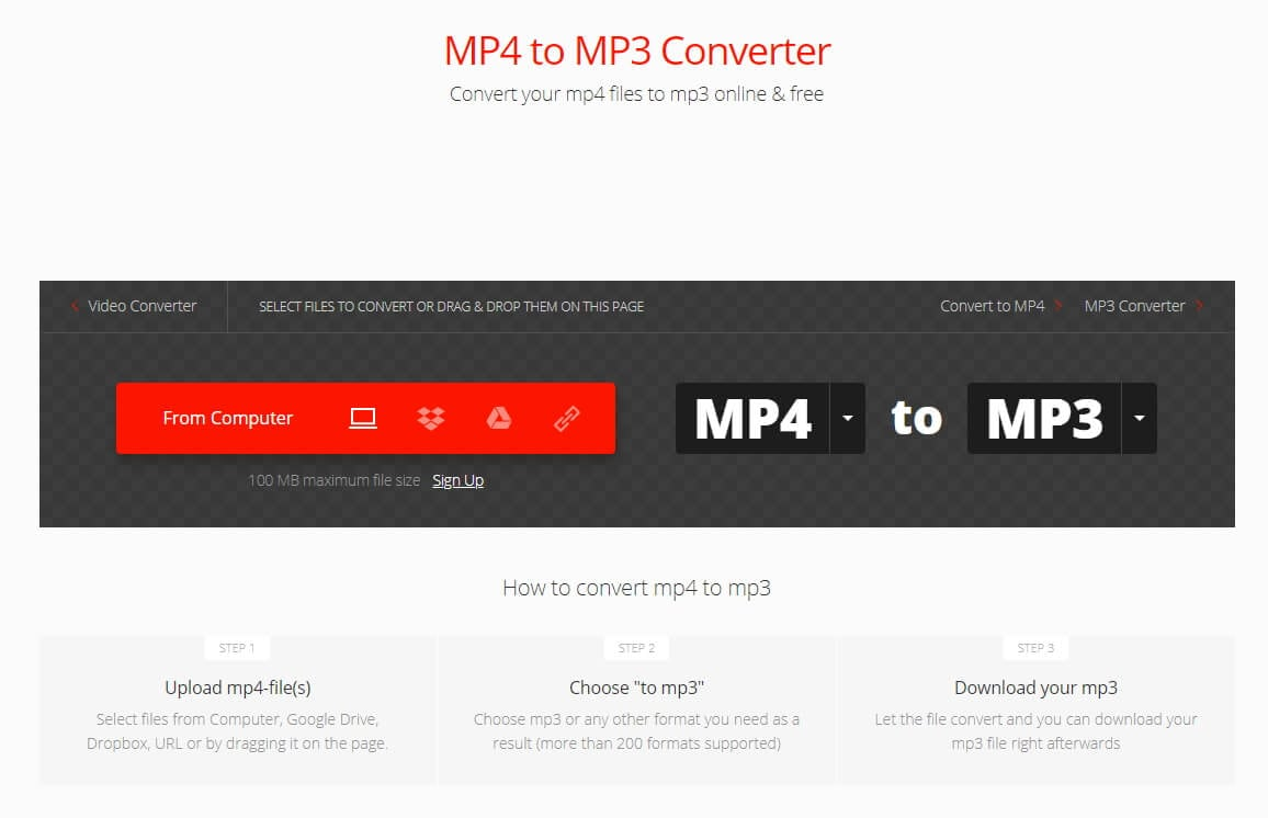 Convertio Online Audio Converter- Save MP4 as MP3