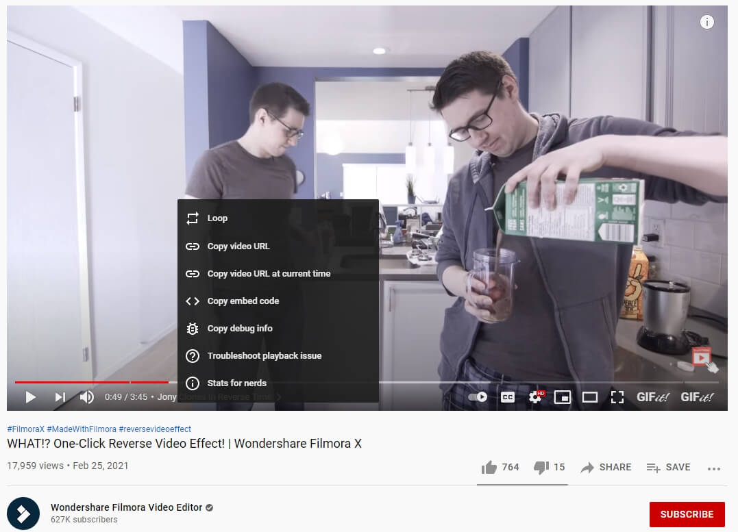 get youtube timestamps link