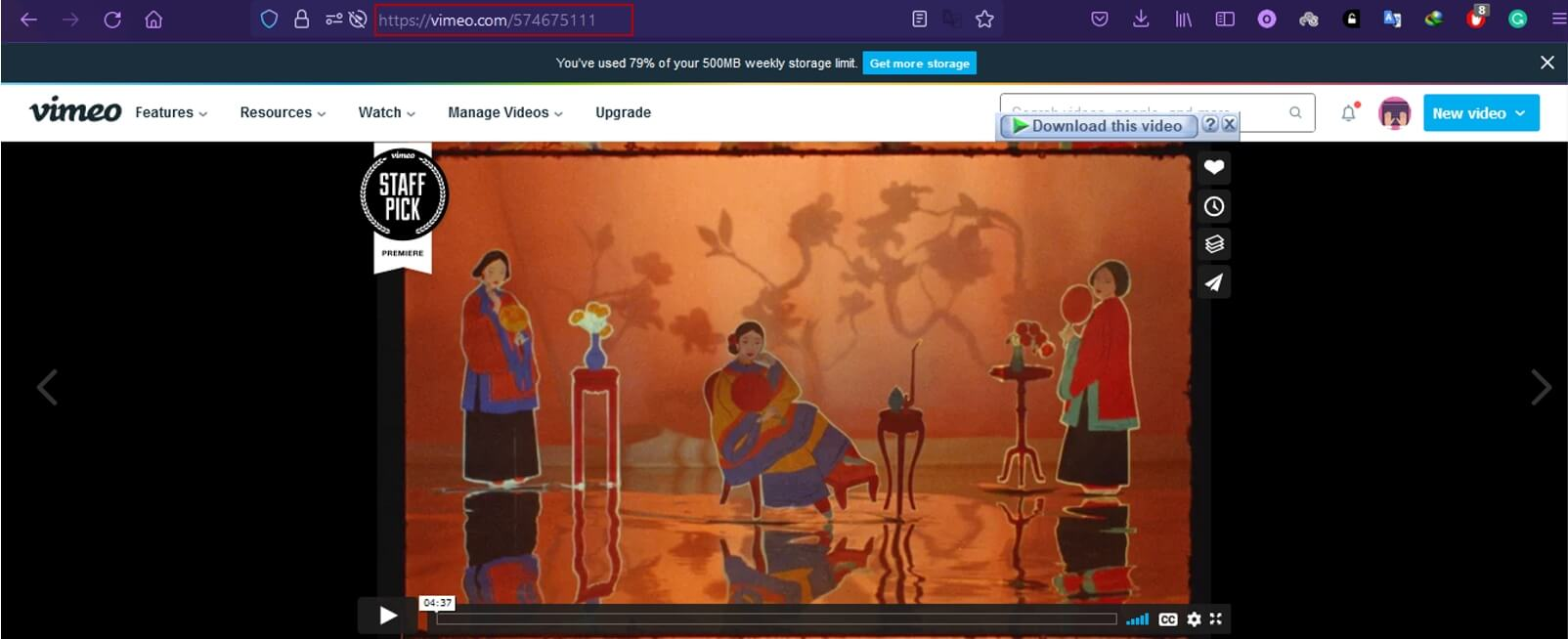 copy vimeo video link