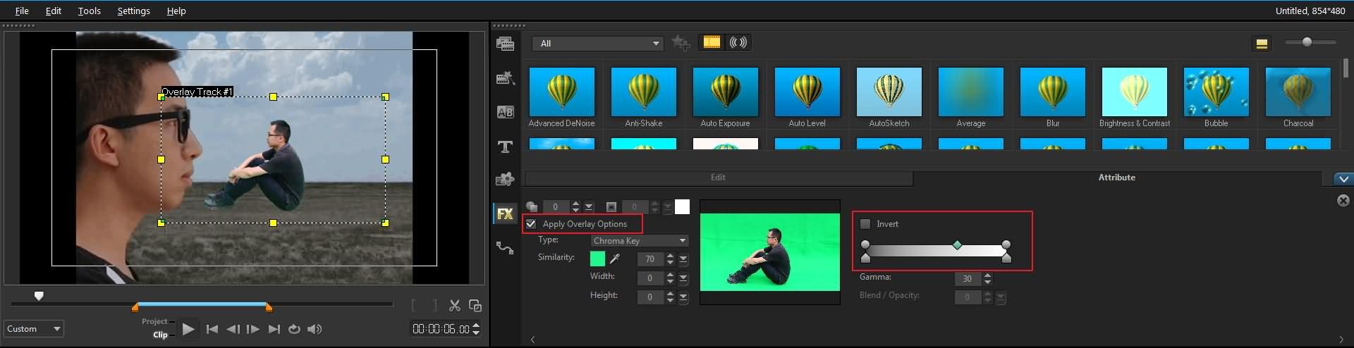Tela verde do Corel VideoStudio