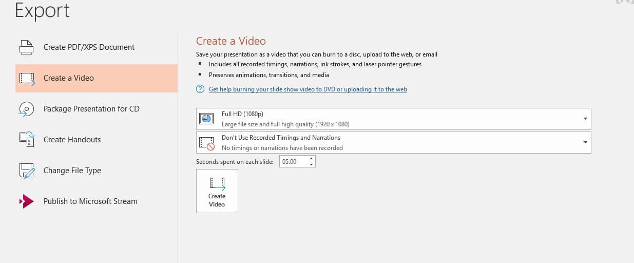 Gravar apresentação de slides em PowerPoint, exportação de vídeo