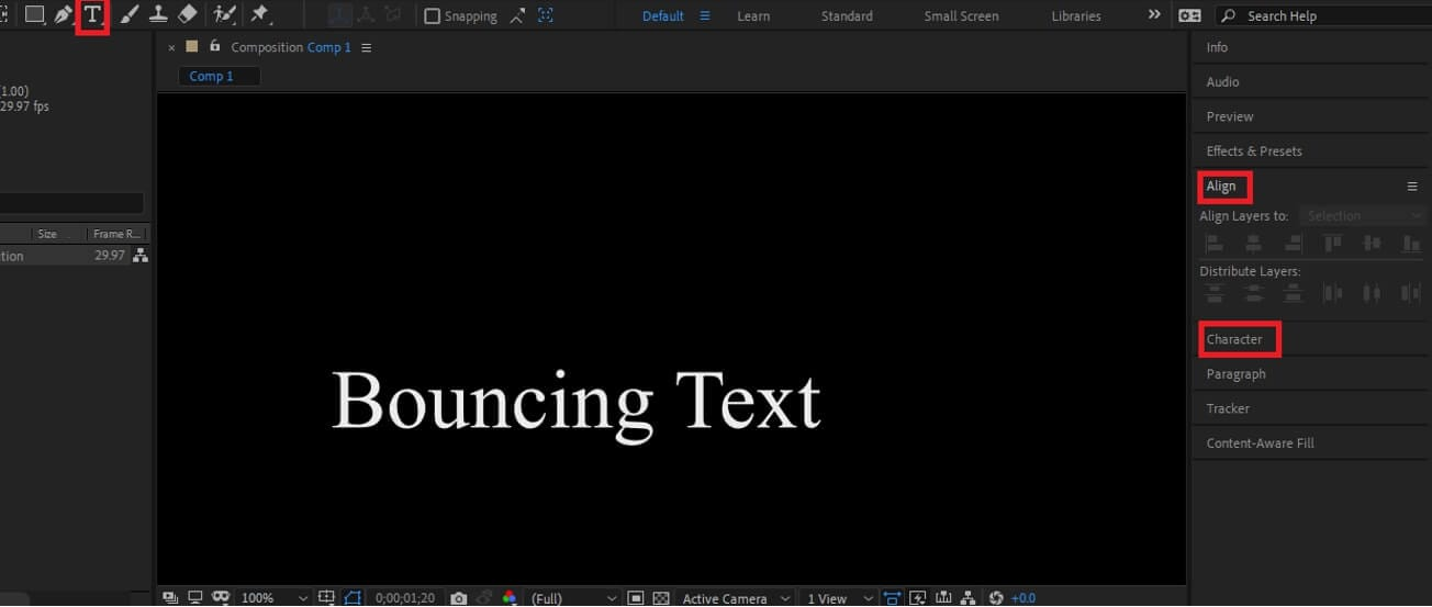 Create Text in After Effects