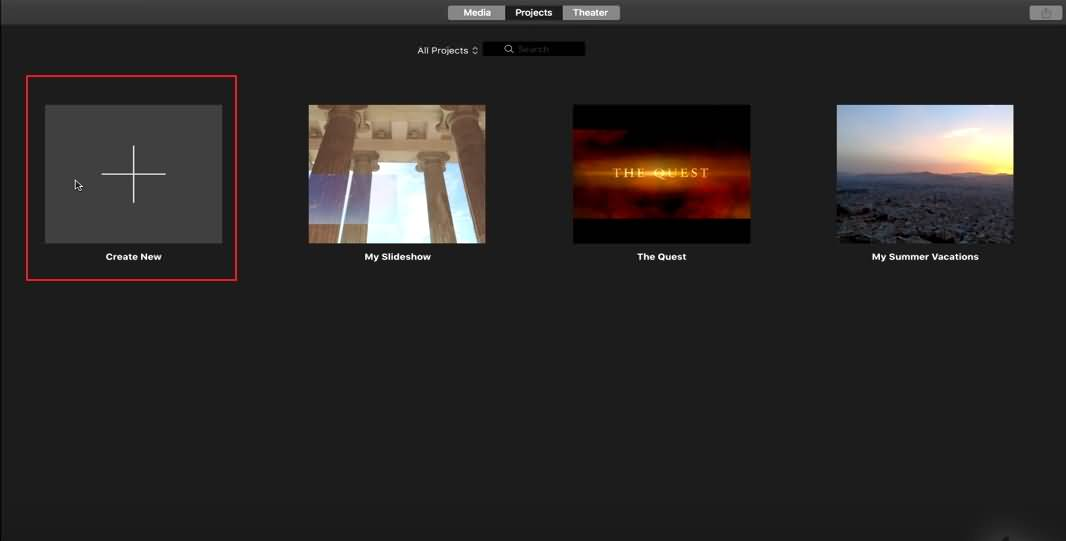 Create New Project iMovie
