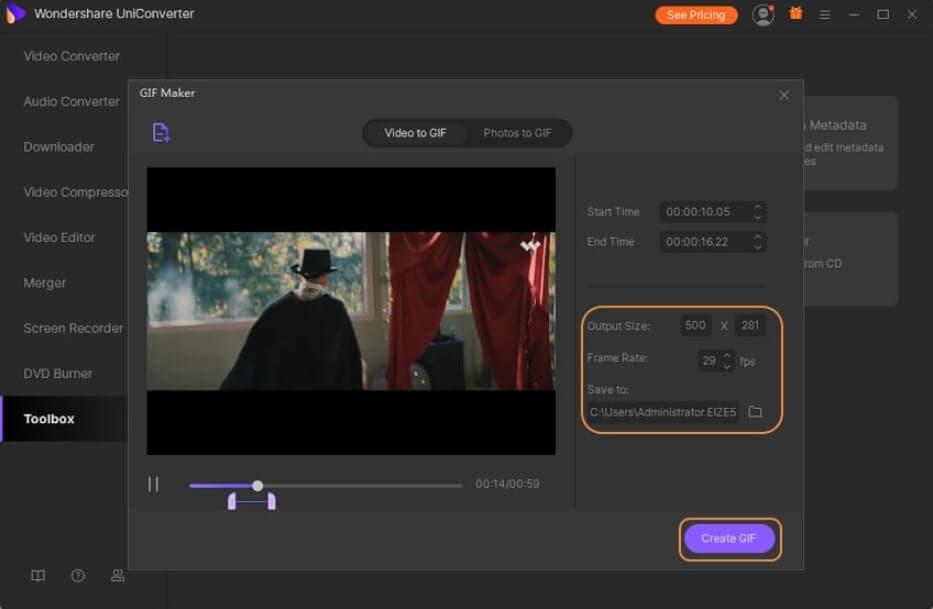 Customize GIF with UniConverter