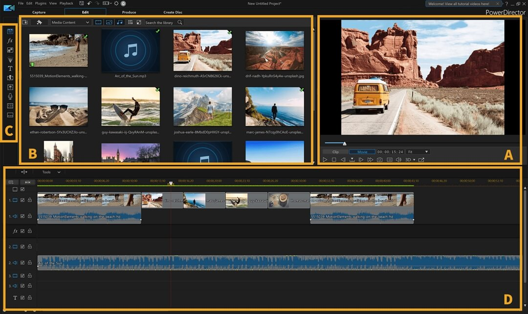 Editing videos in iMovie Alternative  PowerDirector