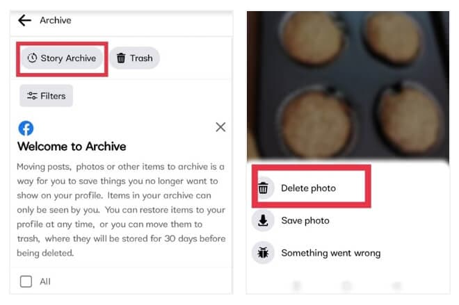 delete Facebook Story from archive