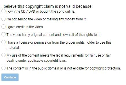 Dispute YouTube Copyright Claims