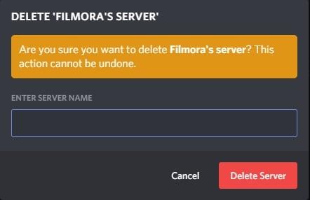Confirmación de Elimiación Servidor de Discord
