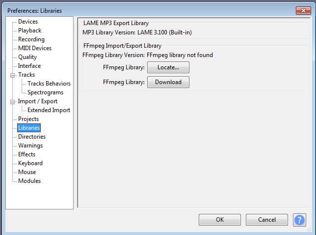 حمّل FFmpeg Library لإزالة الصوت من الفيديو في Audacity