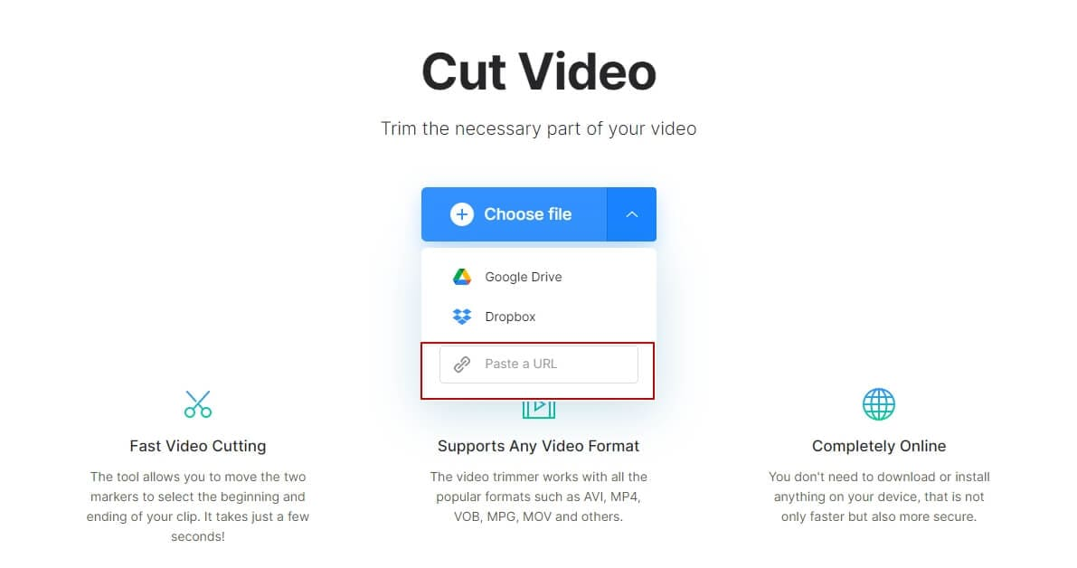 Download part of YouTube video with Clideo