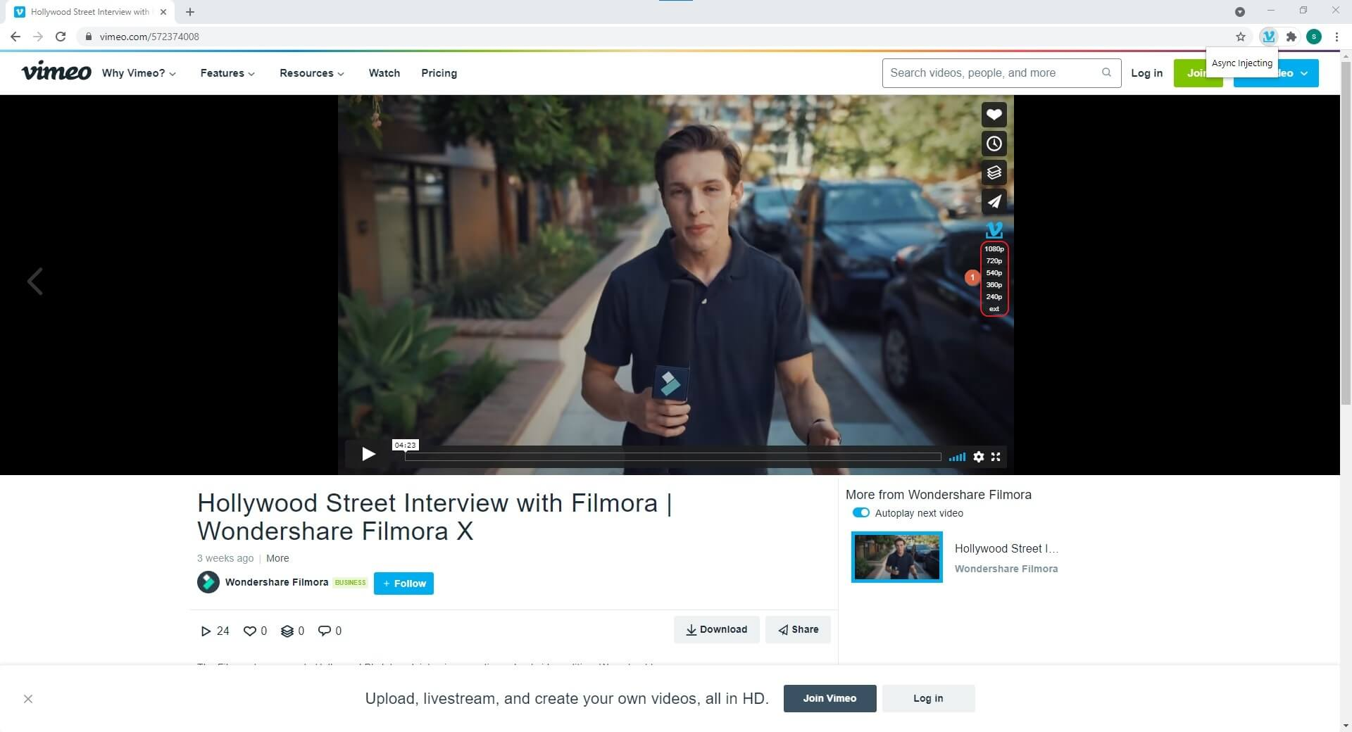 download Vimeo video with Simple Vimeo Downloader