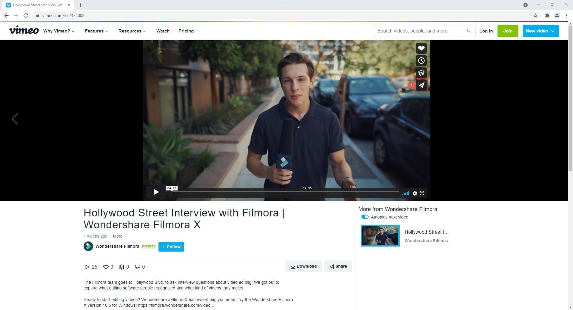 Vimeo Video Player Share