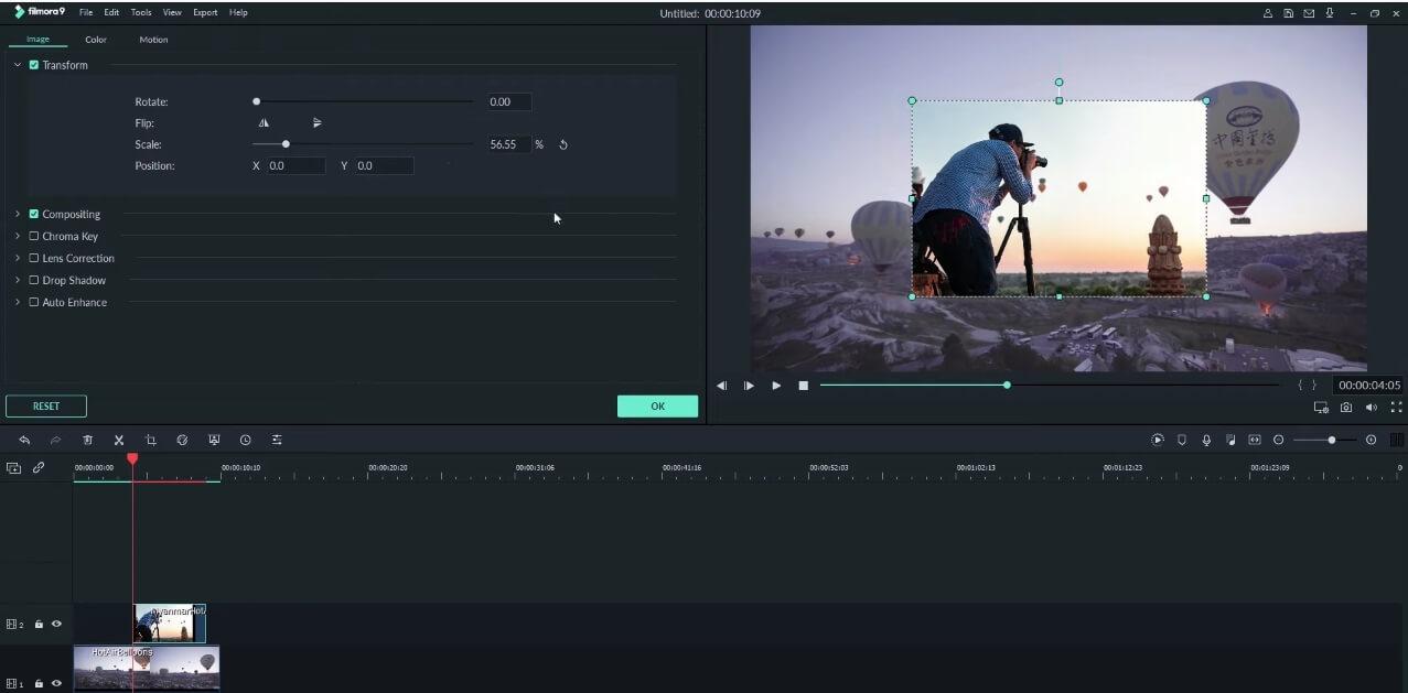Change Transform in Filmora9 in Preview