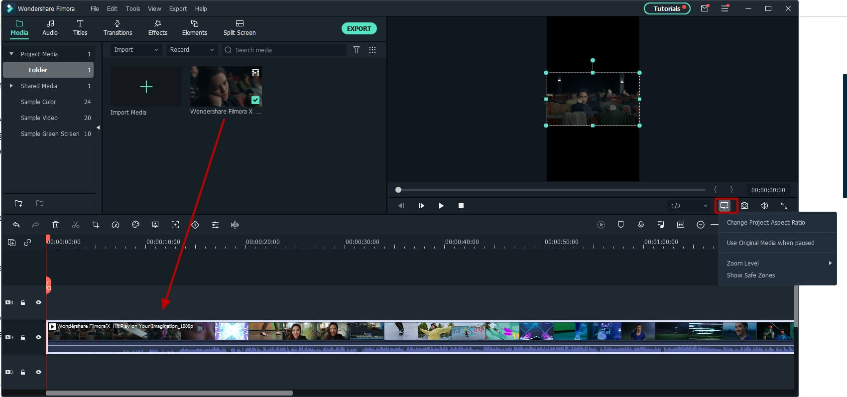 import horizontal video to timeline