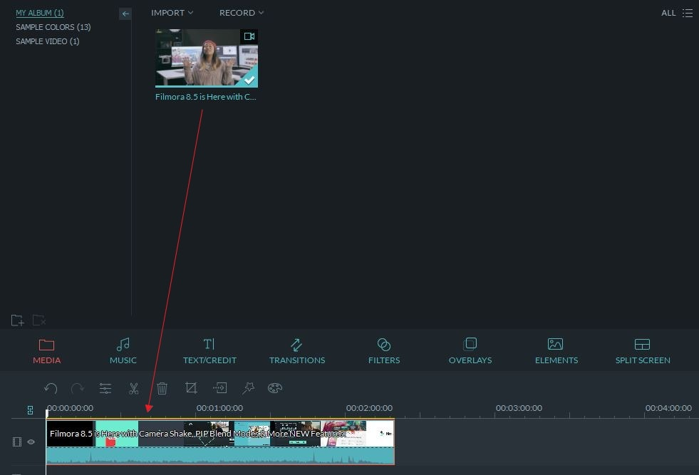 drag video to timeline
