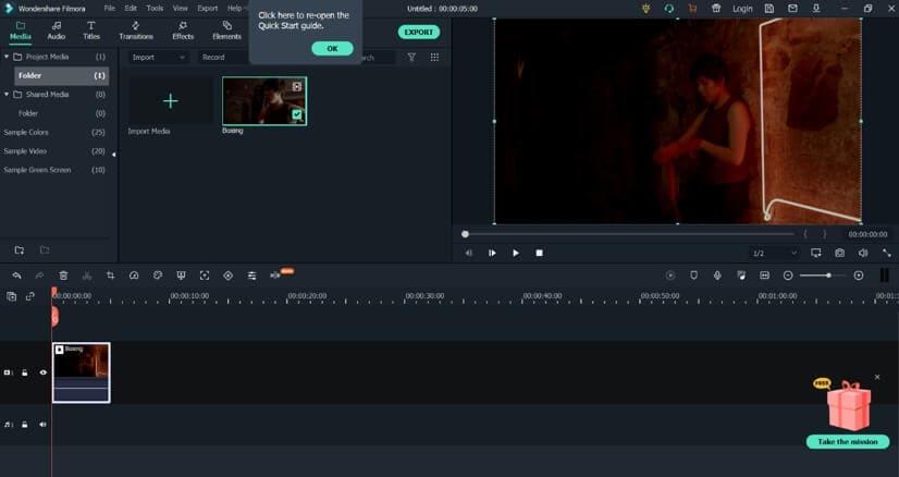 convert vimeo to gif with Filmora X - import