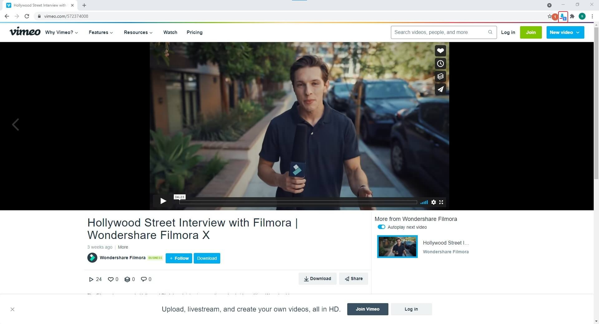 enable Video Downloader for Vimeo