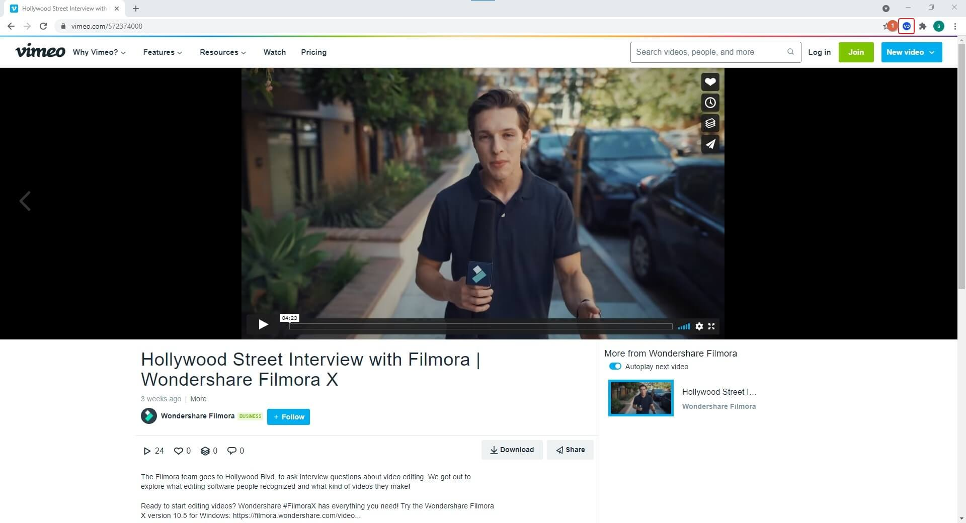 download vimeo video with extension