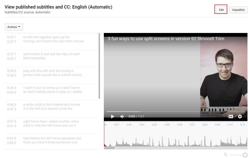 Edit YouTube subtitles