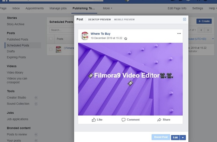 how to edit scheduled Facebook post step