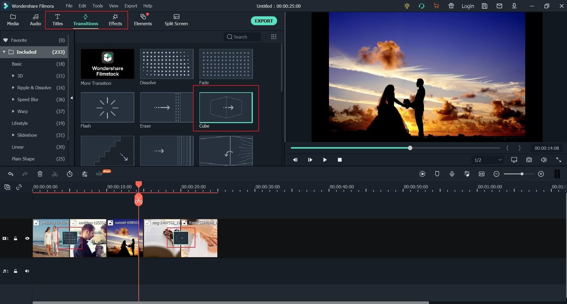 Edit Wedding anniversary video in Filmora