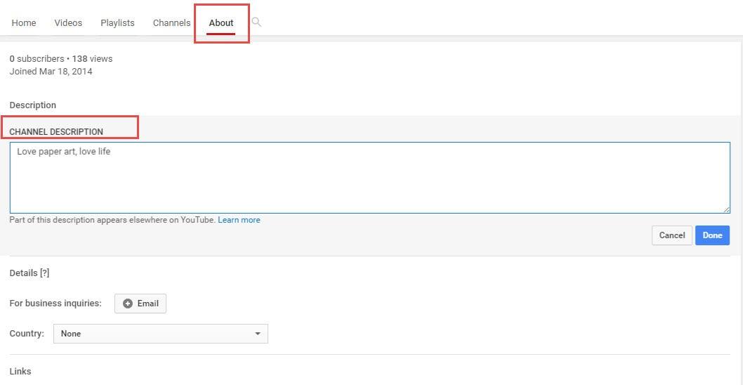 Edit YouTube Channel Description