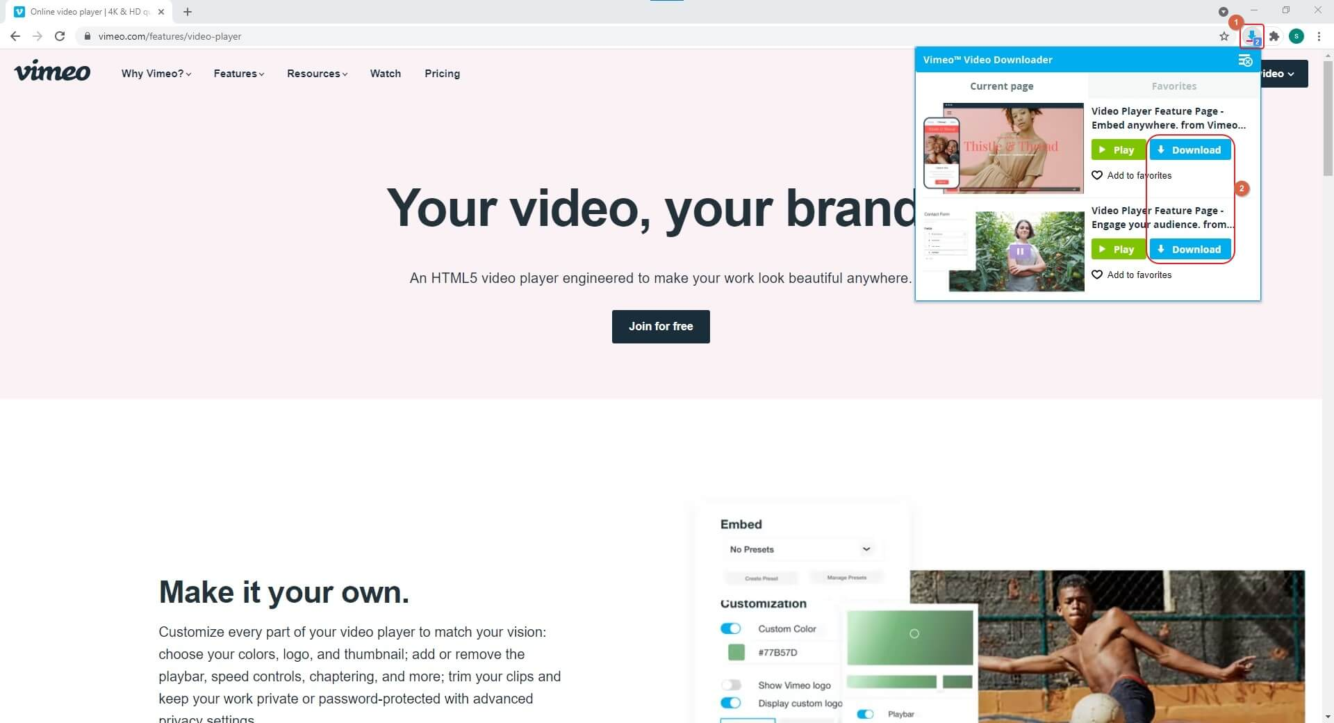download embed video with  Video Downloader for Vimeo